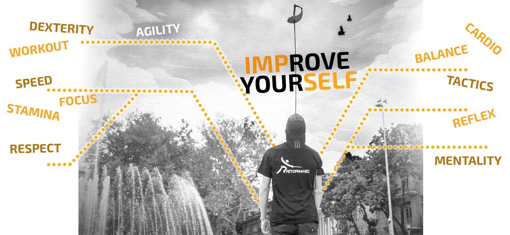 improve yourself, dexterity, workout, speed, focus, stamina, respect, balance, cardio, tactics, reflex, mentality